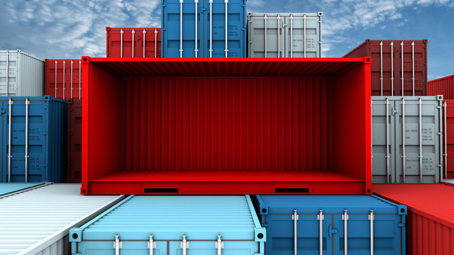 Whole side and empty red container box at cargo freight ship