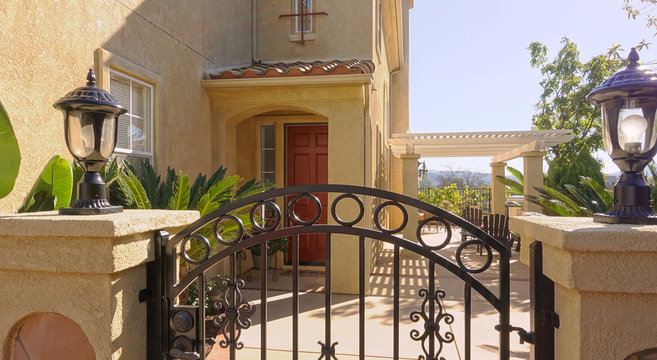 Gate at front entrance of a Southern California home