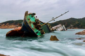 Wall Murals Shipwreck Shipwreck at sea in Hong Kong