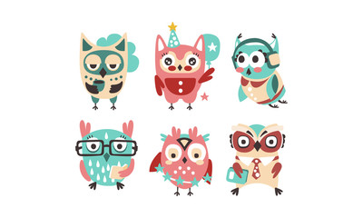 Wall Mural - Cute pink and blue owls with accessories. Vector illustration on a white background.