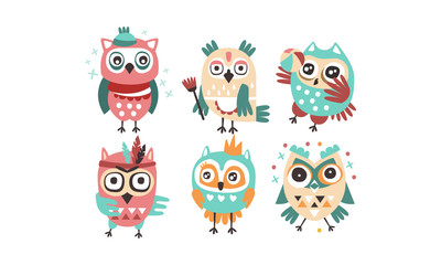 Wall Mural - Set of humanized stylish owls. Vector illustration on a white background.