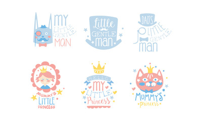 Set of cute pink and blue lettering and images for little girls and boys. Vector illustration.