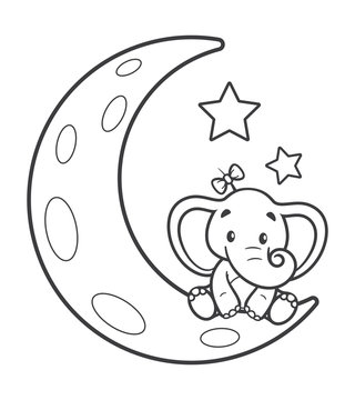 Vector black line cartoon baby  elephant sitting on the moon. Isolated on white background.