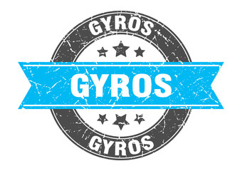 gyros round stamp with turquoise ribbon. gyros
