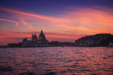 Venice city at sunset with Santa Maria della Salute Basilica,