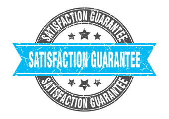 satisfaction guarantee round stamp with turquoise ribbon. satisfaction guarantee