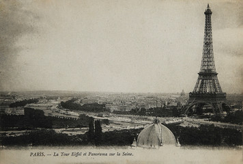 Fotobehang Eiffeltoren Rare vintage postcard with view on Eiffel Tower in Paris, France, circa 1900