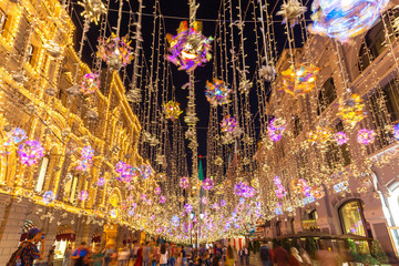 Illuminated Nikolskaya street and the GUM store, Moscow, Russia