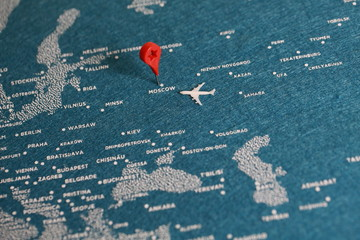 Foto op Aluminium Oost Europa travel painted map with the plane, russia