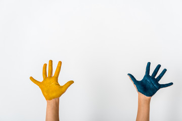 cropped view of kid with blue and yellow paint on hands isolated on white