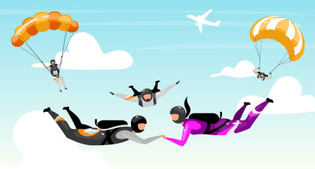 Skydiving flat vector illustration. Couple outdoor activities. Extreme sports. Teamwork parachuting. Cloudscape, sky jump. Active lifestyle, fun entertainment. Paratroopers cartoon characters