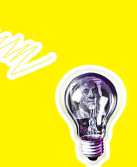 Lamp bulb with money inside on yellow background. Pop art style. Expensive electricity. Rising on...
