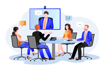 Fototapeta Group of businesspeople at the video conference call. Vector flat cartoon illustration. Online meeting with director obraz