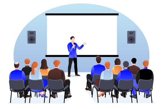 People at the seminar, presentation, conference. Vector illustration. Business training, coaching and education concept