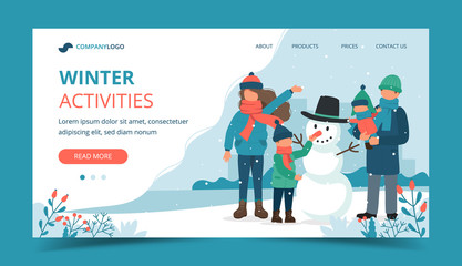 Family making a snowman in winter. Landing page template. Cute vector illustration in flat style.