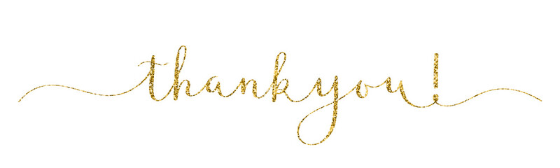 THANK YOU! vector gold glitter brush calligraphy banner with swashes