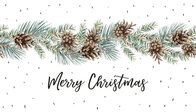 Xmas garland with text Merry Christmas, white background. Green pine, fir twigs, cones. Vector illustration. Nature design. Greeting card, poster template. Winter holidays. Seamless border