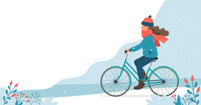 Girl riding bike in the park in winter. Cute vector illustration in flat style.
