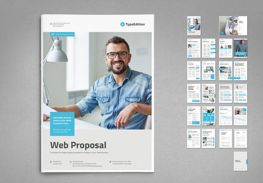 White and Light Gray Proposal Layout with Pale Cyan Elements