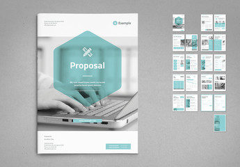 White and Light Gray Proposal Layout with Cyan Accents