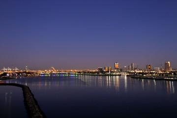 A view of Long Beach marina, California from a cruise ship at dawn