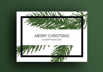 Merry Christmas Card Layout with Green Branch Illustration