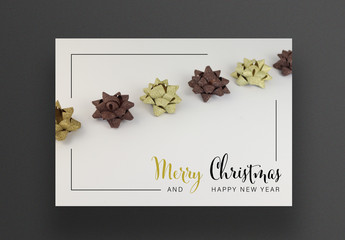 Christmas Card Layout with Photo of Gold and Brown Stars