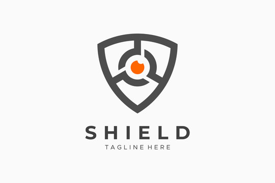 Shield With Eye Security Logo Protection Symbol Secure Icon Flat Vector Logo Design