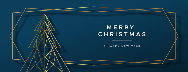 Christmas New Year gold art deco pine tree banner
