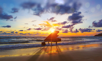 In de dag Diepbruine Music background.Melody and song concept in nature.Surreal image of grand piano in scenic sunset beach