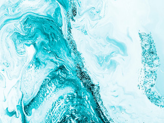Turquoise with silver creative abstract hand painted background, marble texture