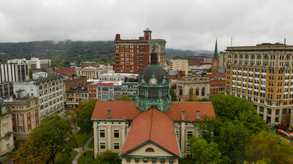 Fotomurales - Aerial View Cloudy Overcast Day Downtown Urban Core Binghamton New York