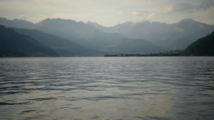 Wall Mural - Lake Como Sunset. Photo Taken From the City of Bellano Waterfront Promenade. Italian Destination.