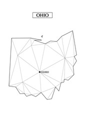 Polygonal abstract map state of Ohio with connected triangular shapes formed from lines. Capital of state - Columbus. Good poster for wall in your home. Decoration for room walls.