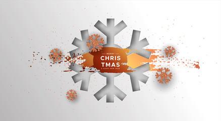 Wall Mural - Christmas New Year card bronze papercut snowflake