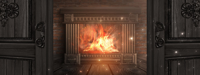 Dark room with brick walls. Open doors to the room. Wooden fireplace, a fire burns. Night view of the room. The magical atmosphere of the evening. 3D illustration. Fototapete