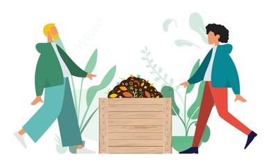 Compostage, Homme et Femme faisant du compost. Concept de recyclage.