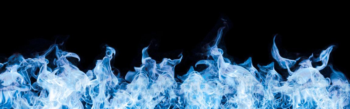 blue flames on black