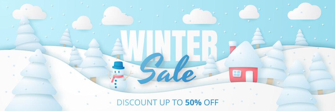 Winter sale banner. Vector illustration.