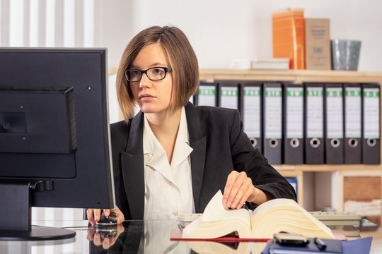 Young female lawyer, law office, get your right