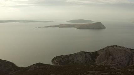 Wall Mural - Aerial Footage of Scenic Croatian Landscape. Adriatic Sea and the Coastal Mountains. Northern Croatia.
