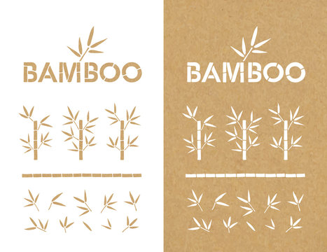 Bamboo Set. Bamboo Design Elements and Logo. Vector Collection.