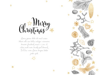 Hand Drawn Christmas Card Layout