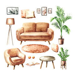 Furniture and interior items set. Sofa, chair, potted plants, coffee table, carpet, lamp, posters. Watercolor hand drawn illustration, isolated on white background