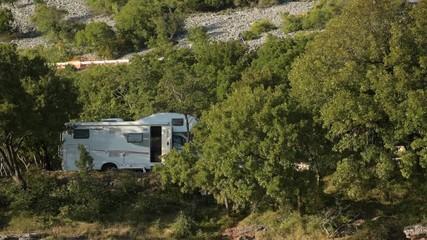 Wall Mural - RV Motorhome Camper Van Vacation.Scenic Sea Shore Camping Site. Croatia, Europe.