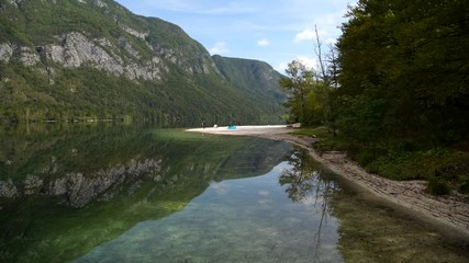 Wall Mural - Fall Season at the Lake Bohinj in the Slovenia. Bohinj Valley of the Julian Alps. Triglav National Park.