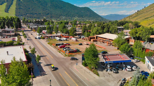 Panoramic aerial view of Jackson Hole homes and beautiful mountains on a summer morning, Wyoming