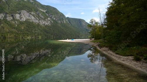 Wall mural Fall Season at the Lake Bohinj in the Slovenia. Bohinj Valley of the Julian Alps. Triglav National Park.