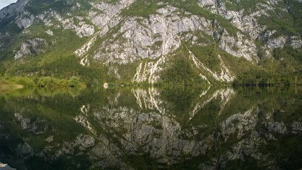 Fotomurales - Part of Triglav National Park. Scenic Lake Bohinj in the Slovenia. Fall Season at the Lake.