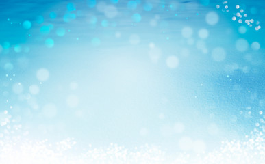 abstract winter blue background with snow, christmas composition